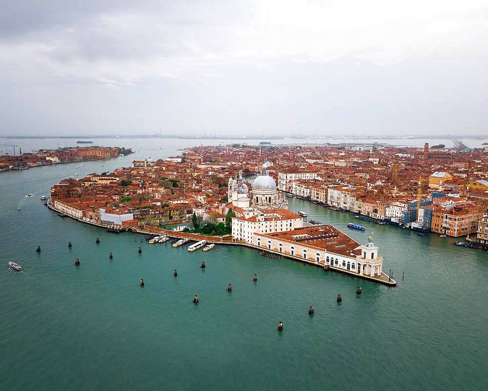 City view with church Santa Maria della Salute, aerial view, Venice, Italy, Europe
