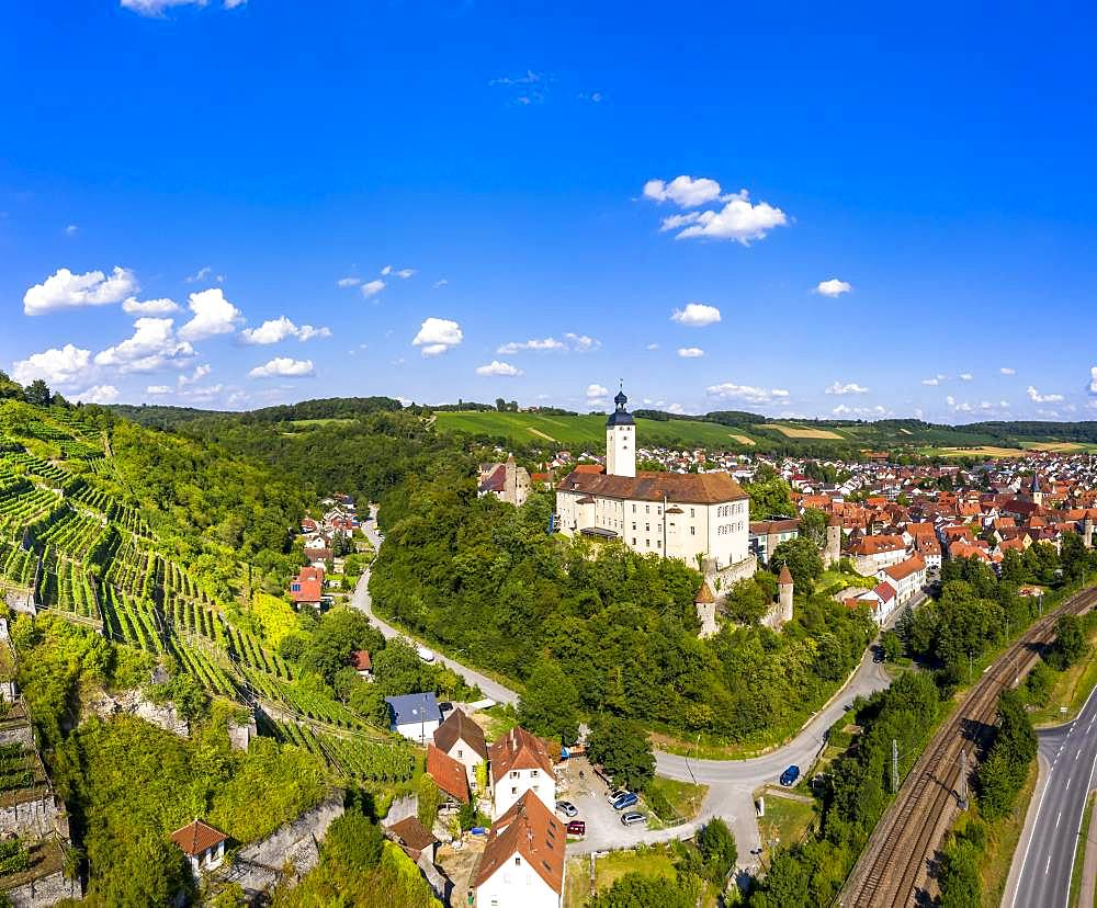 Aerial view, Castle Horneck, Castle of the Teutonic Order, Gundelsheim, Odenwald, Baden-Wuerttemberg, Germany, Europe