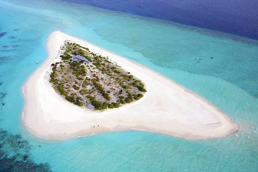 Aerial view, uninhabited island for excursions, Maldives island, excursion island with wide sandy beach, Maldives, Asia