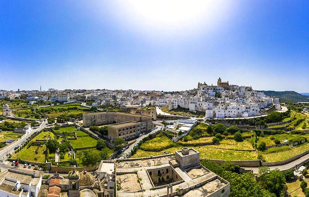Aerial view, mountain village Ostuni, region Brindisi, Apulia, Italy, Europe