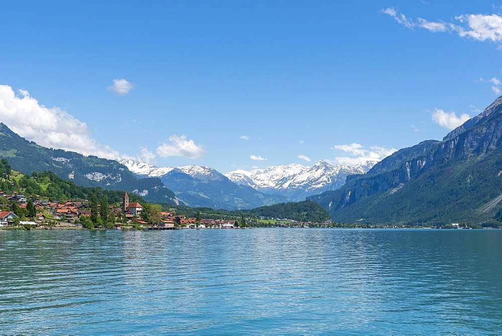 Lake Brienz with view of Brienz, Bernese Oberland, Canton Bern, Switzerland, Europe