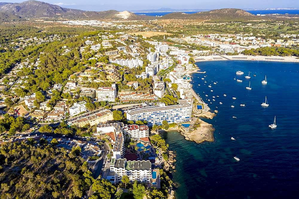 Aerial view of the Costa de la Calma and Santa Ponca coast with hotels, Costa de la Calma, Caliva region, Majorca, Balearic Islands, Spain, Europe