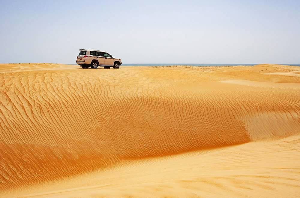 Off-road vehicle drives on sand dune, desert safari, desert Rimal Wahiba Sands, Oman, Asia