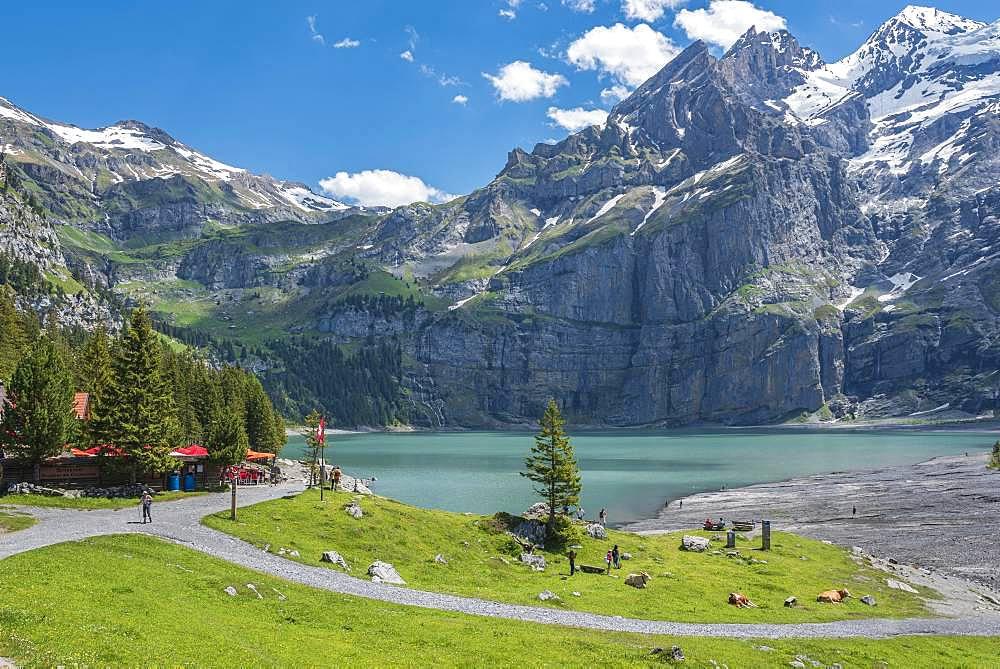Mountain landscape on Lake Oeschinen with Blueemlisalp, Kandersteg, Bernese Oberland, Canton of Bern, Switzerland, Europe
