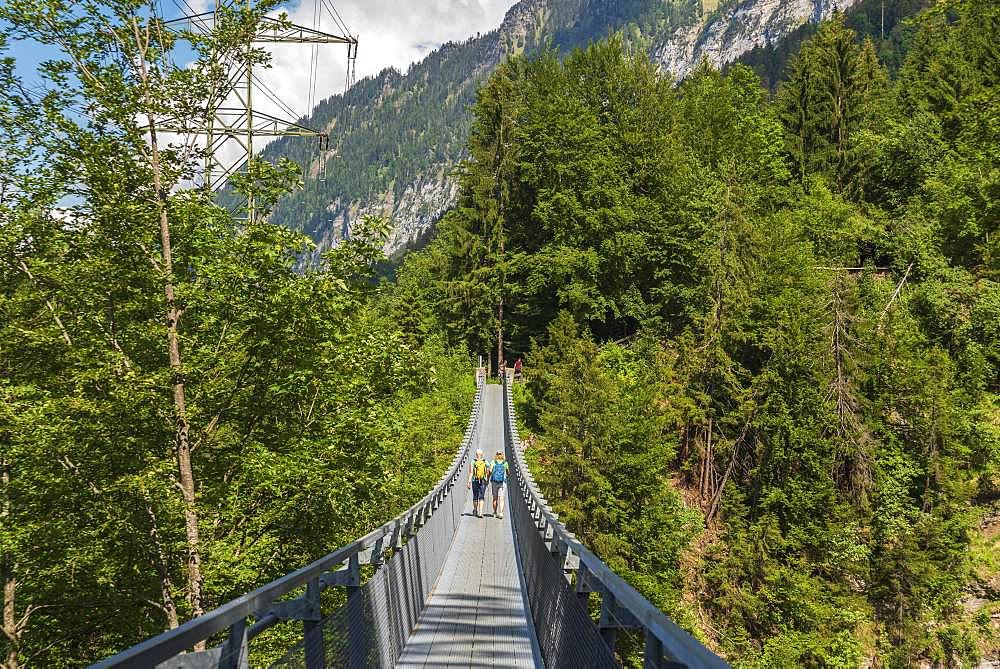 Hikers on Panorama Bridge, Leissingen, Bernese Oberland, Switzerland, Europe