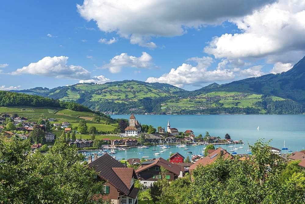 Lake Thun with townscape of Spiez, Bernese Oberland, Switzerland, Europe