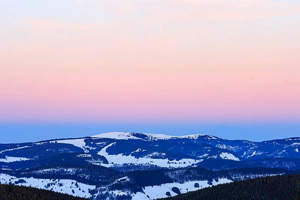 Feldberg with snow at sunset, view from Belchen, Black Forest, Baden-Wuerttemberg, Germany, Europe