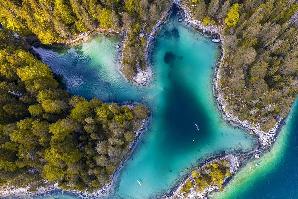Aerial view, islands and forested shores from above, Eibsee lake near Grainau, Upper Bavaria, Bavaria, Germany, Europe