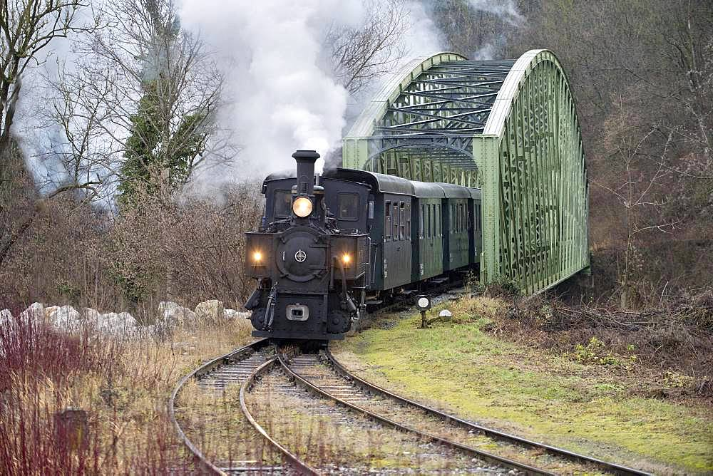 Narrow gauge railway, steaming museum railway Steyrtalbahn with steam locomotive, Steyr, Upper Austria, Austria, Europe