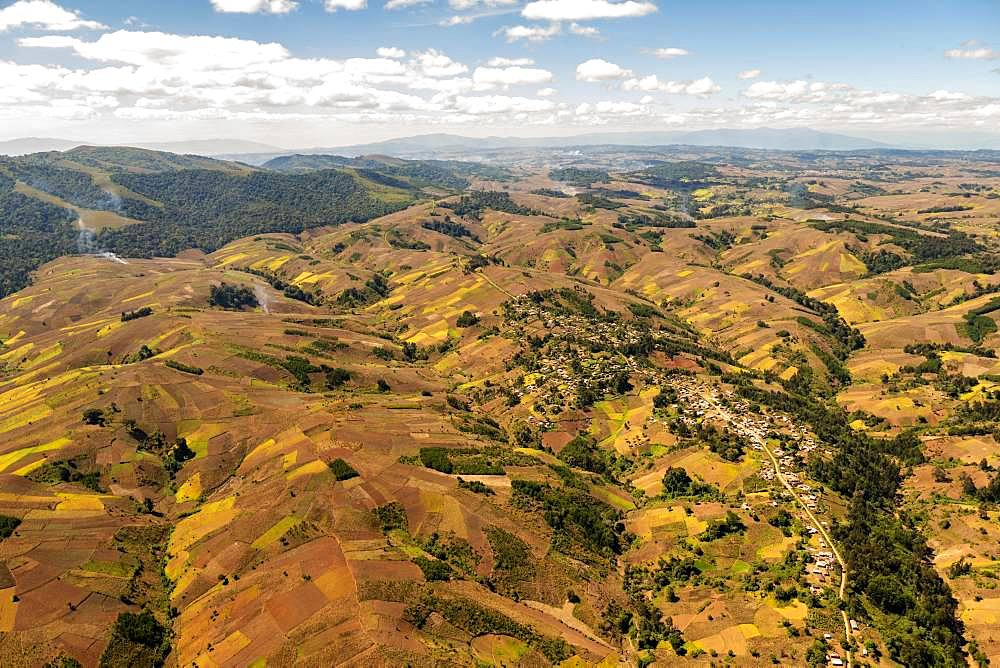 Aerial view, Hilly agricultural landscape with fields, Mbeya Rural, Tanzania, Africa