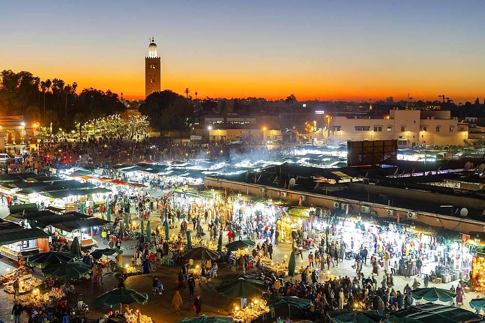 Main market square Jamma el fna in the evening, Marrakech, Maroko
