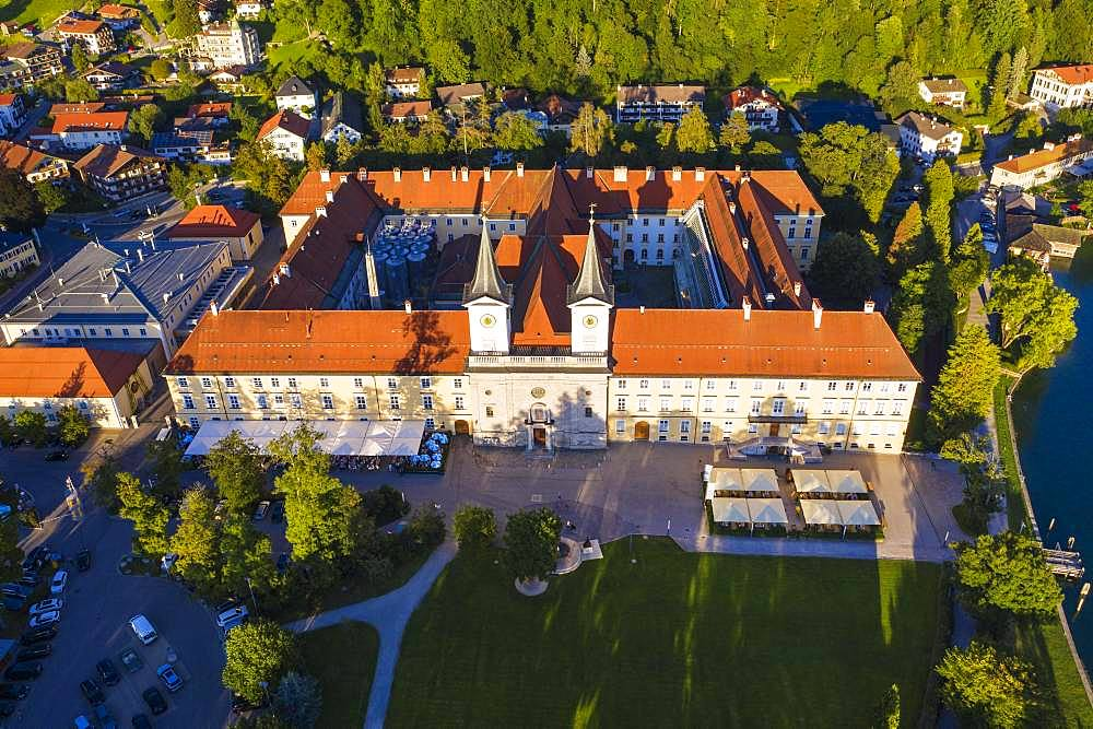 Monastery Tegernsee, place Tegernsee, drone shot, Upper Bavaria, Bavaria, Germany, Europe