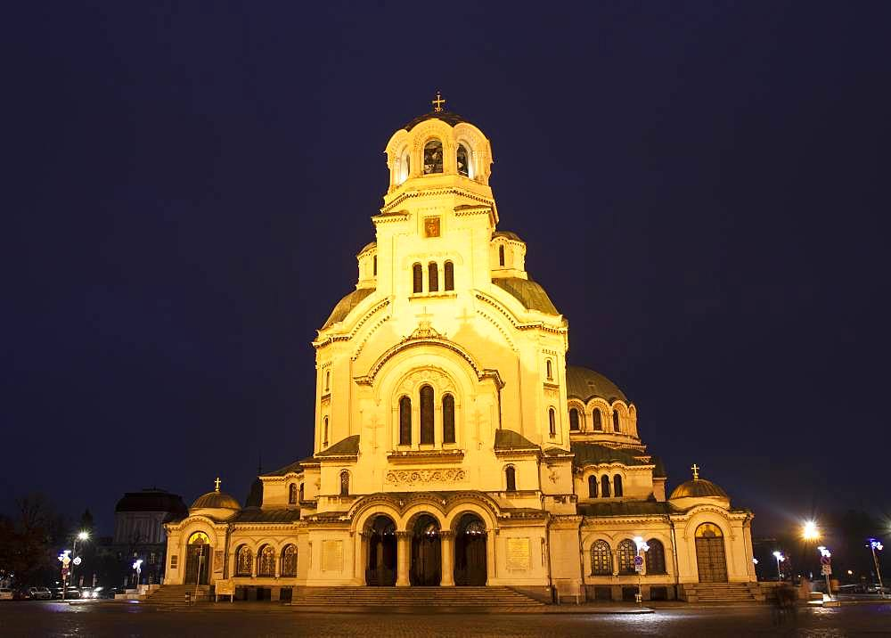 Cathedral of Alexander Nevsky at night, Sofia, Bulgaria, Europe