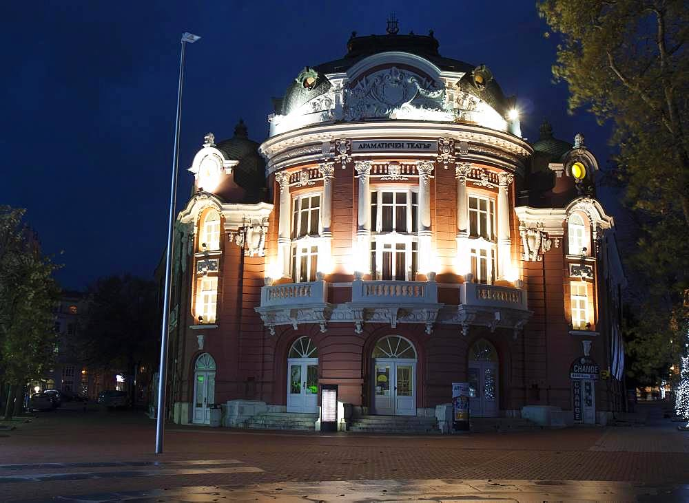 National Opera and ballet theatre at night, Varna, Bulgaria, Europe