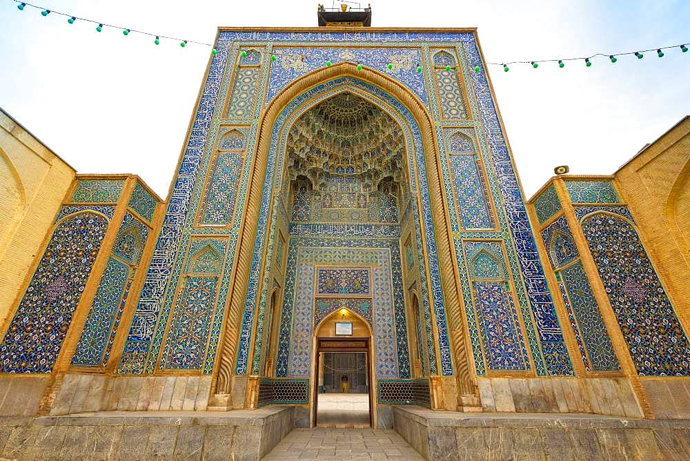 Mozaffari Jame Mosque or Friday Mosque, Facade decorated with floral patterns, Kerman, Kerman Province, Iran, Asia
