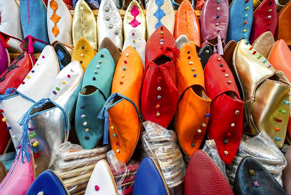 Colorful slippers sold in old town of Marrakech, North Africa, Morocco, Africa