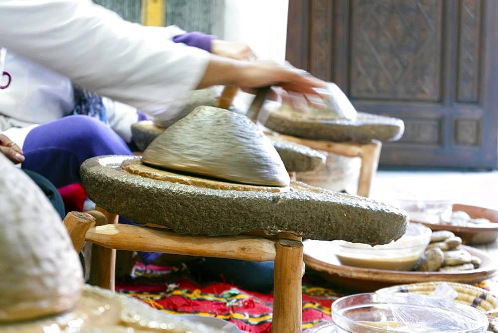 Traditional production of argan oil in Marrakech, Morocco, Africa