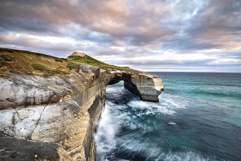 Rugged rock formation at Tunnel Beach, Dunedin, Otago, South Island, New Zealand, Oceania
