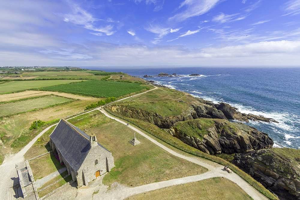 View from the lighthouse Saint Mathieu to the church Notre Dame des Graces, Plougonvelin, Departement Finistere, France, Europe
