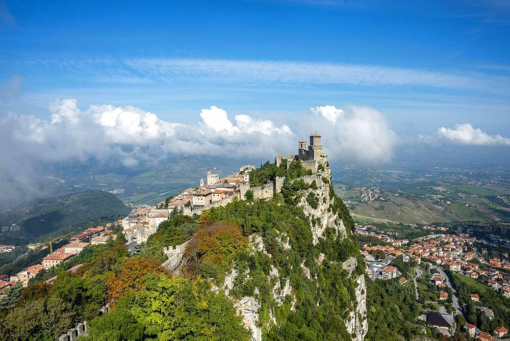 Torre Guaita or Rocca Guaita, old watchtower, Monte Titano, San Marino city, San Marino, Europe