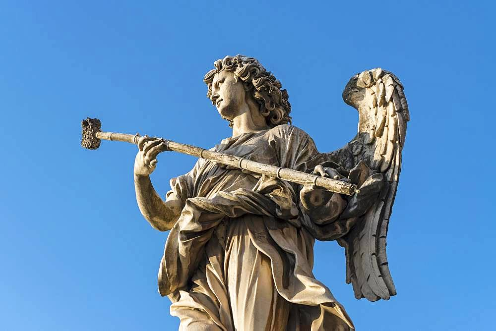 Statue of angel with the sponge, Ponte Sant'Angelo bridge, Rome, Italy, Europe