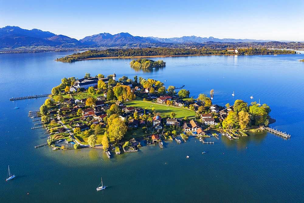 Fraueninsel, Frauenchiemsee, behind Krautinsel and Herreninsel, Chiemsee, Alps, Chiemgau, aerial view, Alpine foreland, Upper Bavaria, Bavaria, Germany, Europe - 832-387048
