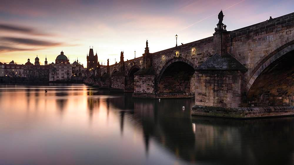 Charles Bridge in the morning at sunrise, Prague, Czech Republic, Europe