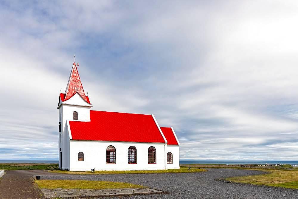 Stone church Ingjaldsholskirkja, Ingjaldshols, Hellissandur, Snaefellsnes Peninsula, Snaefellsnes, Vesturland, Iceland, Europe