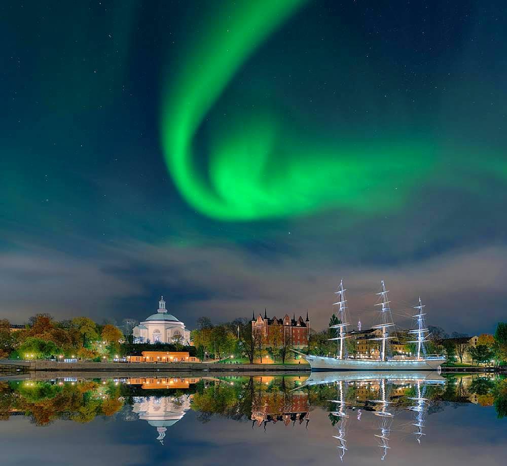 Wasa Museum ship, northern lights, Stockholm, Sweden, Europe