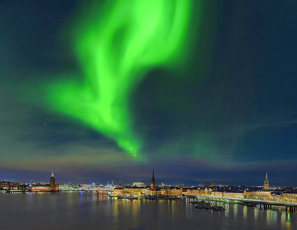 Northern lights over Stockholm, Sweden, Europe