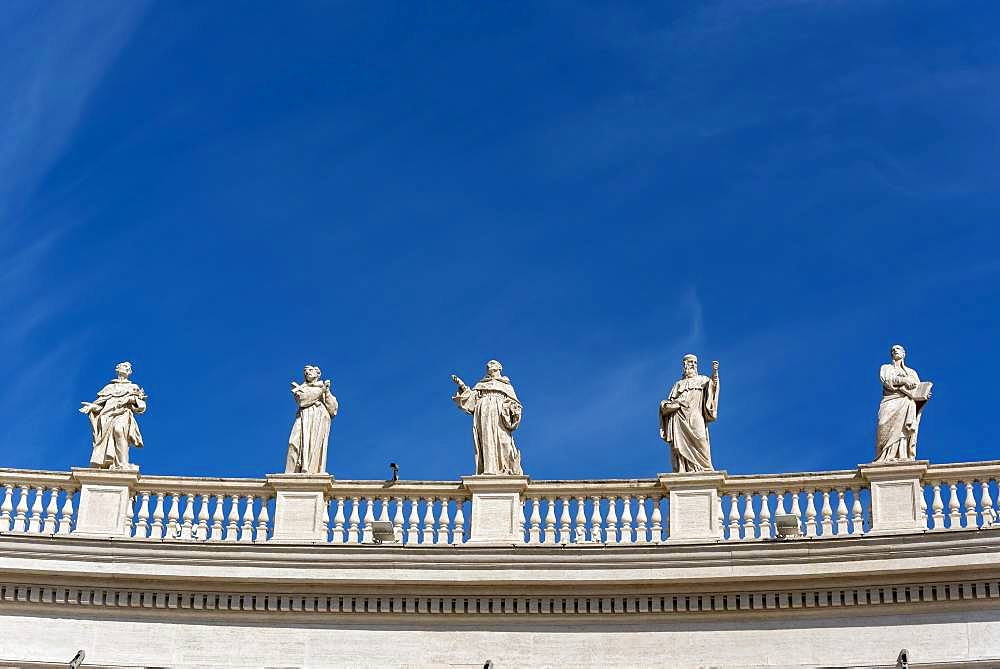 Statues of St. Dominic, Francis of Assisi, St. Bernard, St. Benedict and St. Ignatius Loyola, St. Peter's Square, Vatican, Rome, Italy, Europe