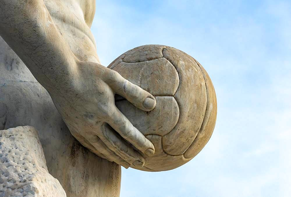 Athlete statue with a ball at Stadio dei Marmi, Foro Italico, Rome, Italy, Europe