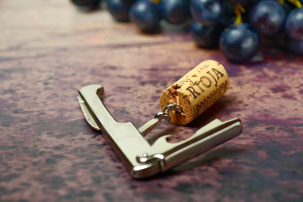 Corks with corkscrew and grapes, Germany, Europe