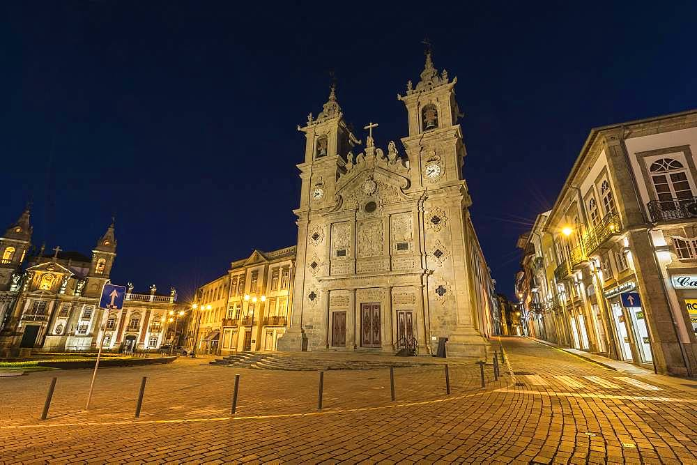 Santa Cruz or Holy Cross Church at night, Carlos Amarante square, Braga, Minho, Portugal, Europe