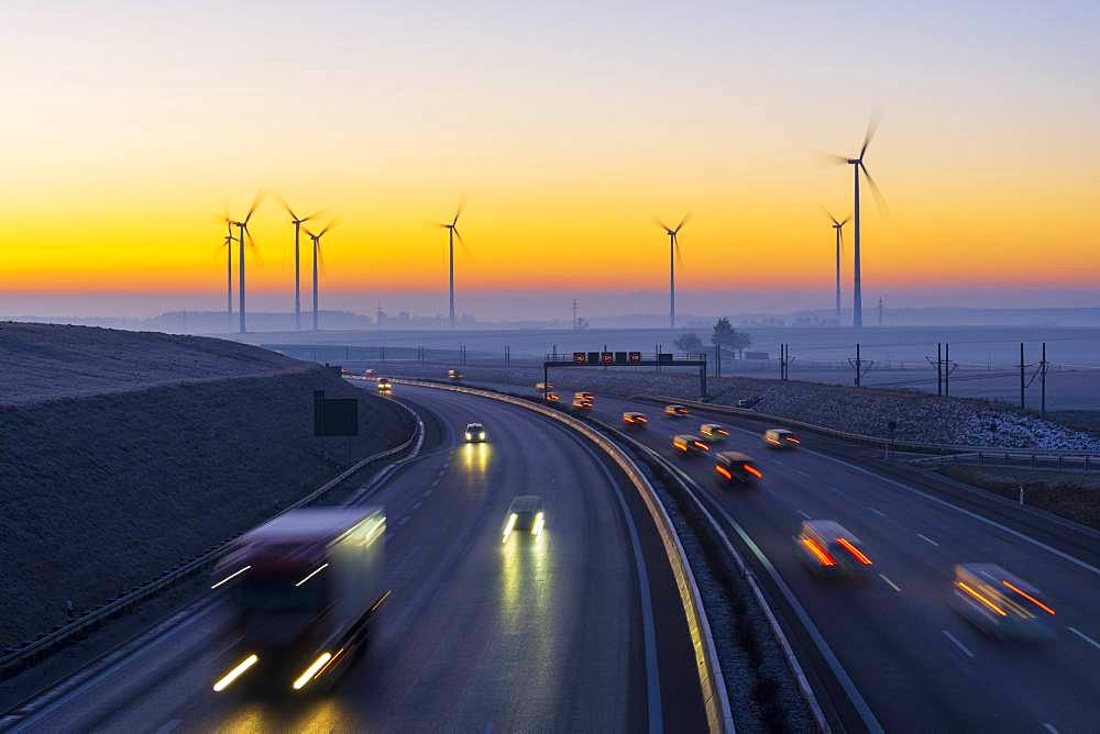 Motorway A8 with wind farm, Baden-Wuerttemberg, Germany, Europe