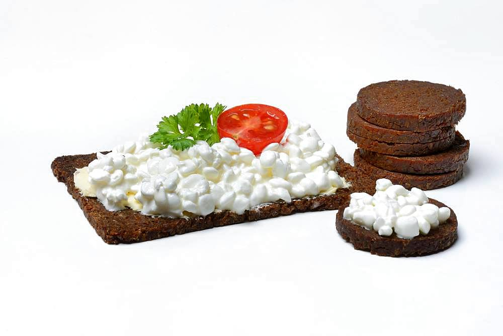 Pumpernickel slices topped with cream cheese, Germany, Europe