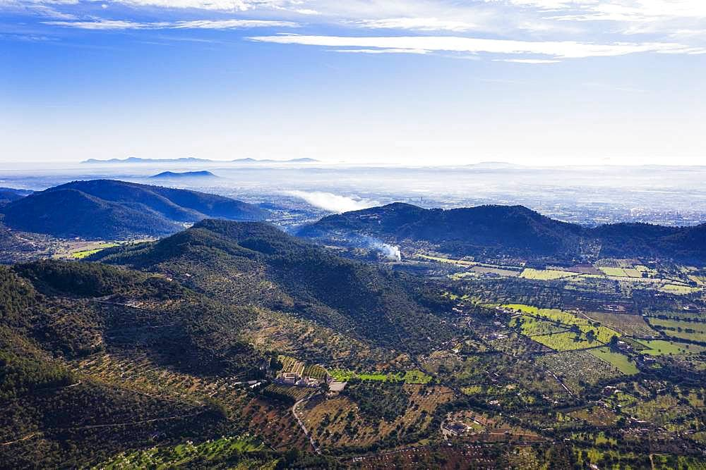 View from Puig d'Alaro, near Alaro, Serra de Tramuntana, aerial view, Majorca, Balearic Islands, Spain, Europe