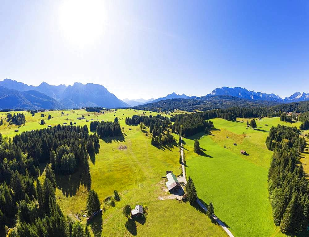 Hump meadows near Mittenwald, Karwendel Mountains and Wetterstein Mountains, Werdenfelser Land, Upper Bavaria, Bavaria, Germany, Europe