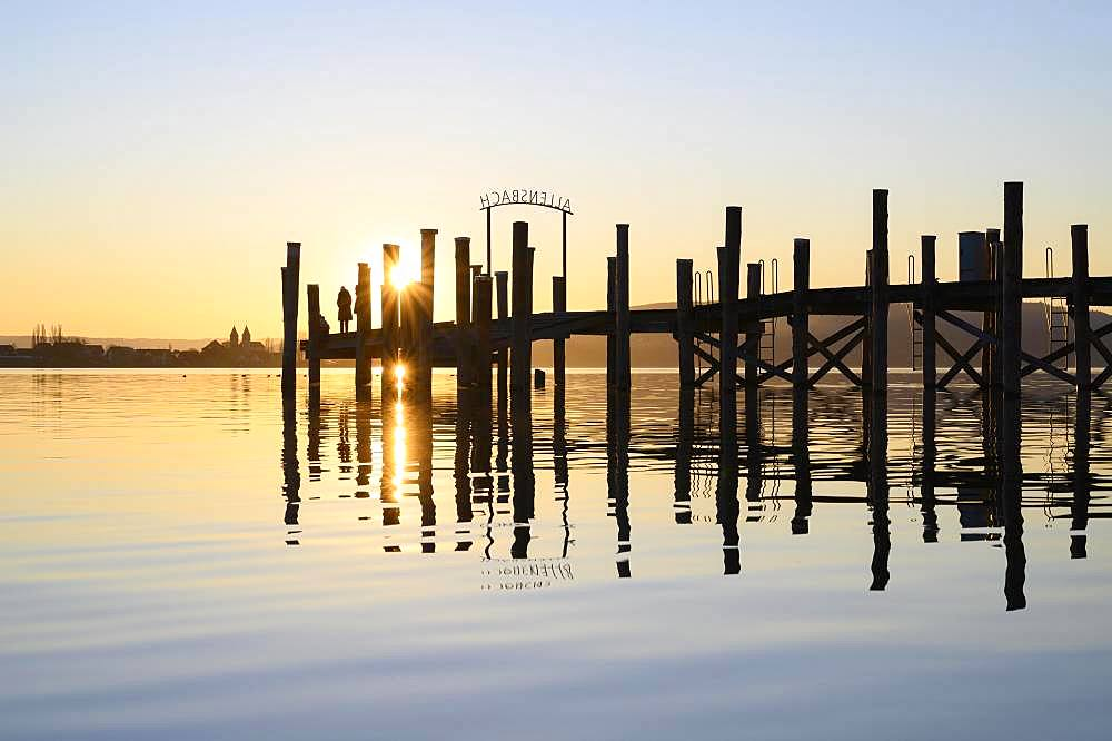 Allensbach pier on Lake Constance, County of Constance, Baden-Wuerttemberg, Germany, Europe