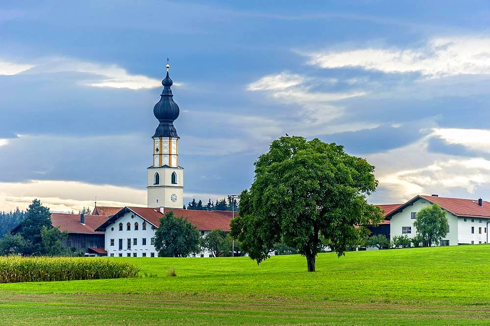 Baroque church of St. James the Elder in the hamlet of Albertaich, Obing, Chiemgau, Upper Bavaria, Bavaria, Germany, Europe