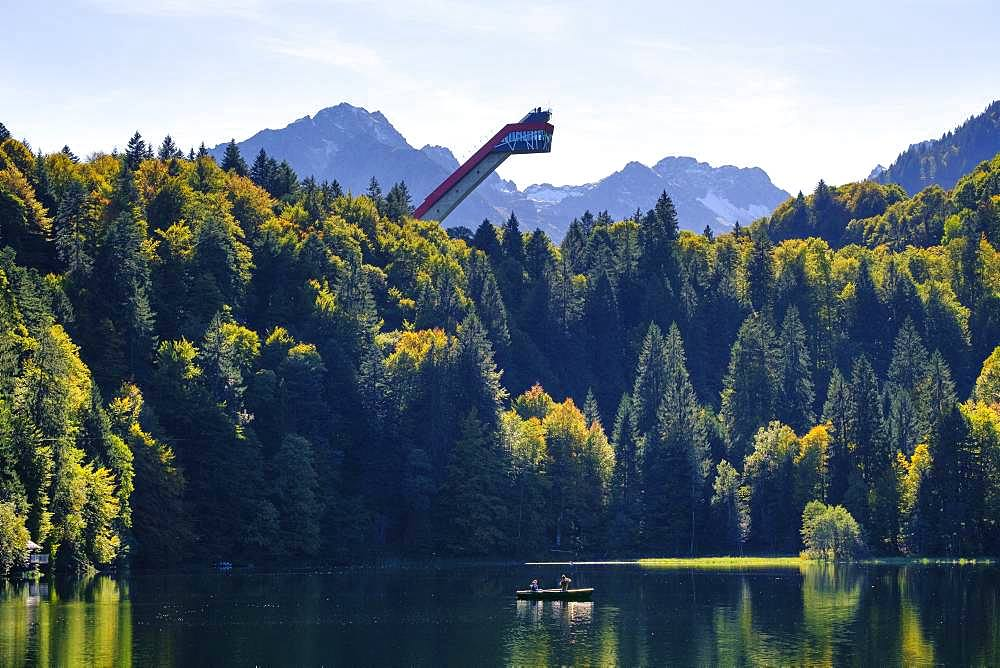 Lake Freiberg and Heini-Klopfer ski jump, near Oberstdorf, Oberallgaeu, Allgaeu, Swabia, Bavaria, Germany, Europe