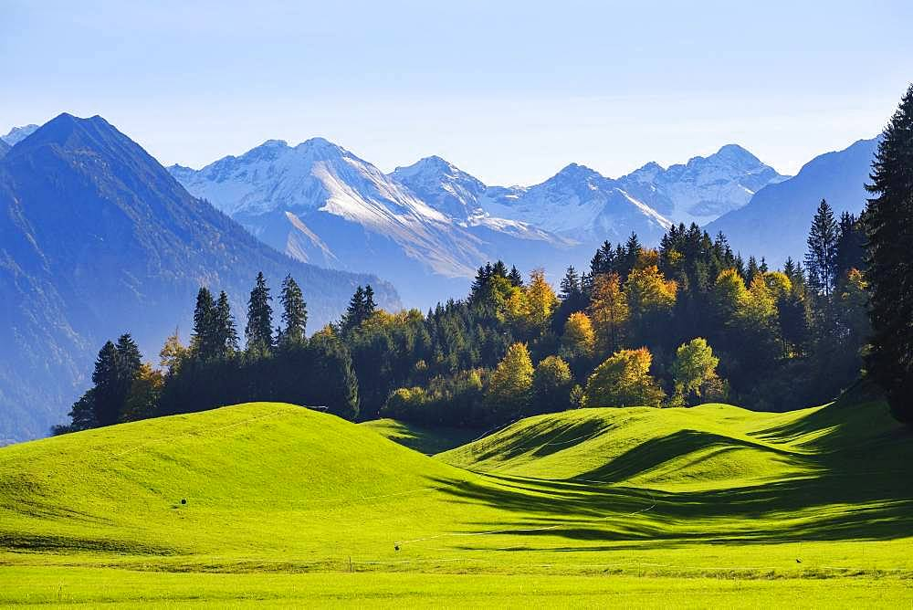 Allgaeu Alps near Oberstdorf, view from Schoellang, Oberallgaeu, Allgaeu, Swabia, Bavaria, Germany, Europe