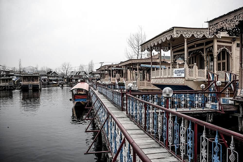 Houseboats on Dal Lake, Srinagar, Kashmir, India, Asia