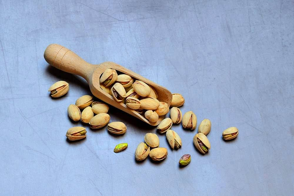 Pistachios with wooden shovel, Pistachio, Germany, Europe