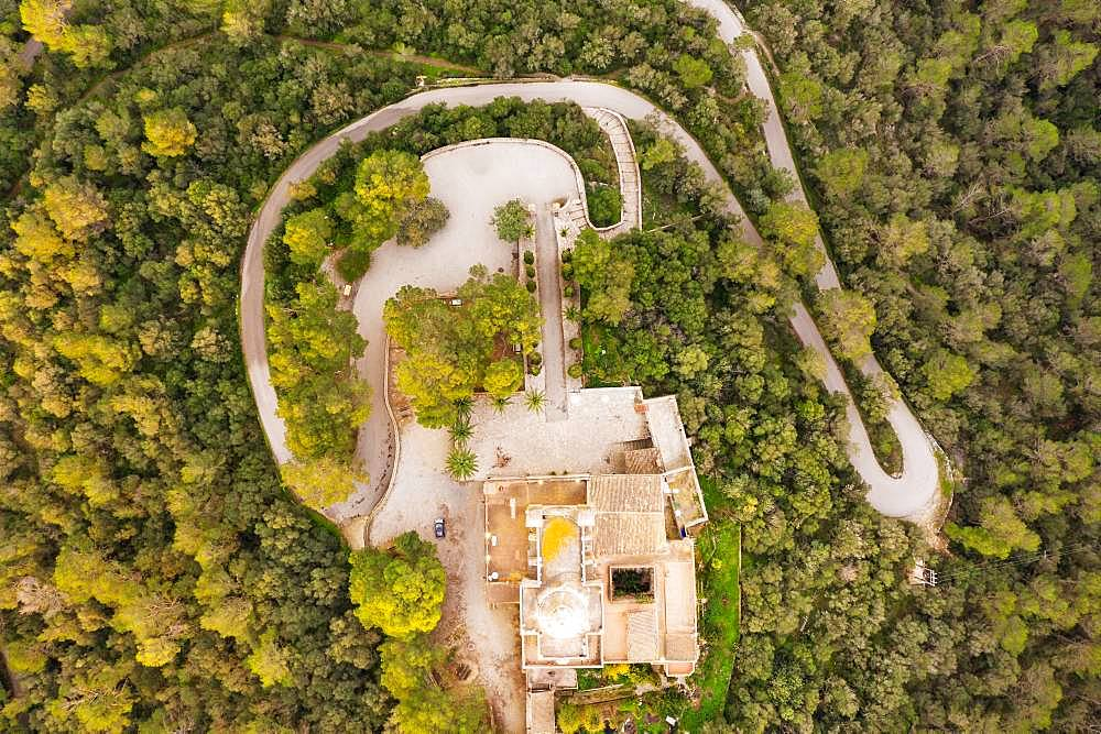 Monastery Santuari de Bonany from above, near Petra, drone picture, Majorca, Balearic Islands, Spain, Europe