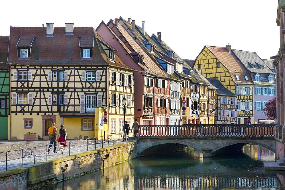 Half-timbered houses, River Lauch in Little Venice, Colmar, Alsace, France, Europe