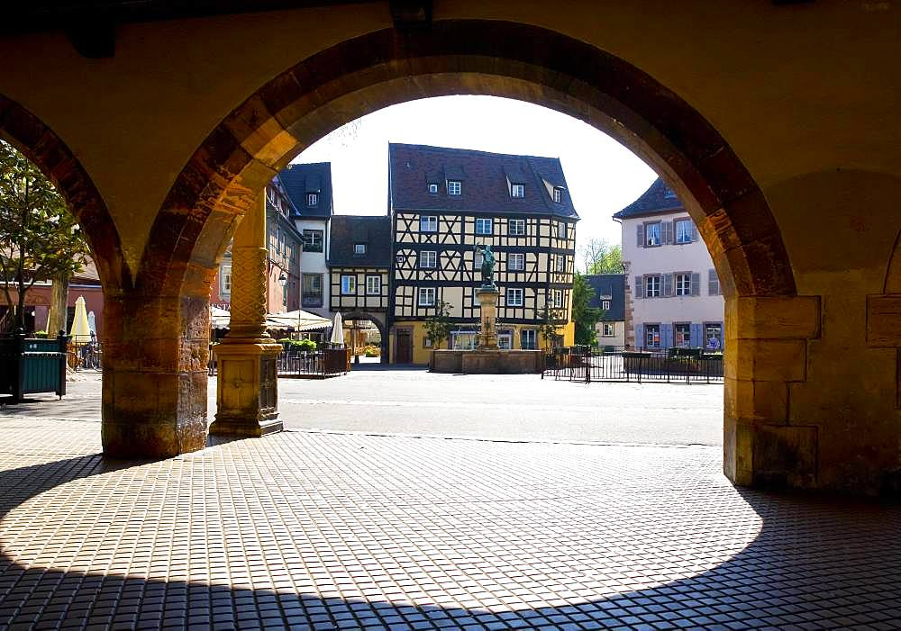 Half-timbered houses, Schwendi Fountain at Place de Ancienne Douane, Colmar, Alsace, France, Europe