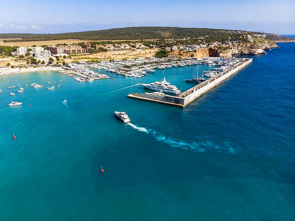 Aerial view, El Toro, luxury marina Port Adriano, Majorca, Balearic Islands, Spain, Europe