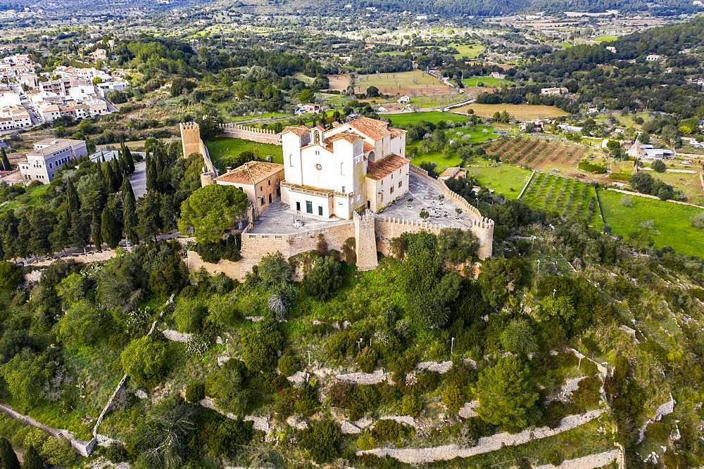 Aerial photos, Arta with parish church Transfiguracio del Senyor and monastery Santuari de Sant Salvador at the Calvary, Majorca, Balearic Islands, Spain, Europe