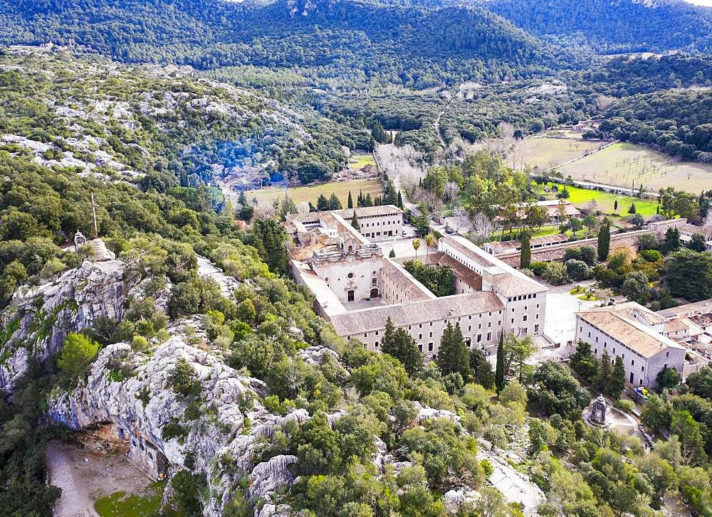 Lluc Monastery, Santuari de Lluc, Serra de Tramuntana, drone recording, Majorca, Balearic Islands, Spain, Europe